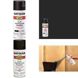 Spray Paint Stop Rust Protective Enamel Flat Black 12 oz Indoor Outdoor (6-Pack)