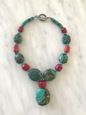 Superb Turquoise and Amber Necklace