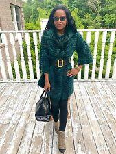 New Designer Sherry Cassin Blue Green Black Raccoon fur Jacket Coat, Dress S-M