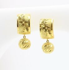 18k gold   diamond cut  hoop clip earring 2.6 gram #B6