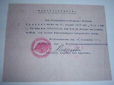 GERMAN NAVY - WW 1 Iron Cross 2nd Class, Award Cert.  Mine Seeker. (Copy)