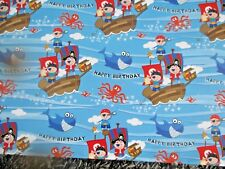 PIRATE WRAPPING PAPER 2 SHEETS 1 TAG BIRTHDAY GIFT WRAP BLUE