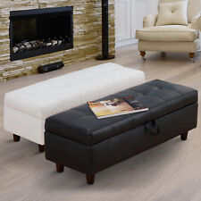 Ottoman Storage Bench Stool Bed-end Hallway Blanket Box PU Leather Wood 2 Colors