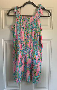 NWT Lilly Pulitzer Sundari Romper Unicorn Of Seas Pink Blue Girls XLarge XL