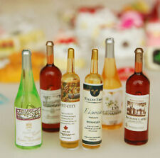 6pcs Wine Whisky Beer Bottles Dolls House Miniature Pub Bar Accessory 1:12 Scale