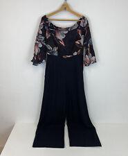 Karen Millen The Atelier Jumpsuit Silk Floral Pattern Wide Leg Sz 12 UK Ladies