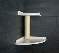 Kratzbaum Katzenmöbel / Wandbrett! Doppel-Ecke! weiß lackiert. Sisalstamm (2f)