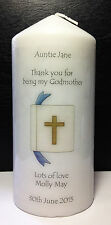 personalised godparents tall candle christening gift keepsake bible design