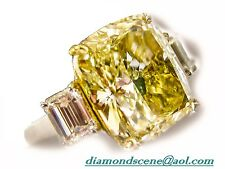 GIA GEMOLOGIST FANCY YELLOW CUSHION SET 2 SIDE EMERALD DIAMOND ENGAGEMENT RING