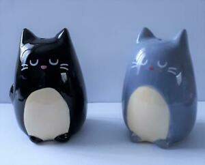 Cute pair of Feline Fine Cat Salt and Pepper shakers NEW and boxed