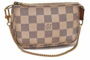 Auth Louis Vuitton Damier Azur Mini Pochette Accessoires Pouch N51986 LV C4246