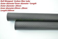 Roll Wrapped 3K Carbon Fiber Tubes OD 30mm ID 20mm  25mm 26mm 27mm 28mm X 500MM