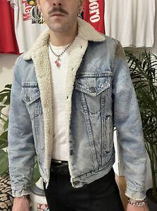 Levi's 1980s Vintage Men's Blue Sherpa Fleece Lined Denim Jean Jacket Sz 38 R