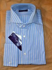 $450 NWT PURPLE LABEL Ralph Lauren 16 BLUE Striped Cutaway cotton dress shirt