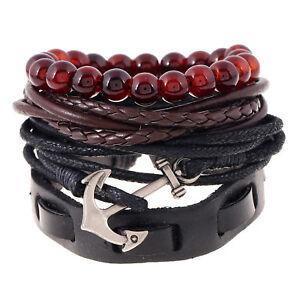 Men's Anchor and Tribal Wood Beads Leather Wristband Bracelet 4pcs Set
