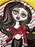 Goth Girl with Black Cat Kitty KSams art gothic abstract SIGNED 13 x 19 PRINT