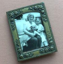 """1910s Charming ANTIQUE NOUVEAU Miniature 2.75"""" x 2"""" Metal Floral PICTURE FRAME"""