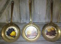 """3 Vintage Wall Picture Frames pans 11"""", Made In England Brass Metal fruit RARE"""
