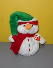 """8"""" Ty Pluffies Lil Icebox Snowman Bean Plush TyLux So Soft Red, White & Green"""