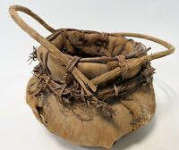 """Vintage 10"""" Primitive Stitched Natural Palm Husk Leaf Fiber Stick Handle Basket"""
