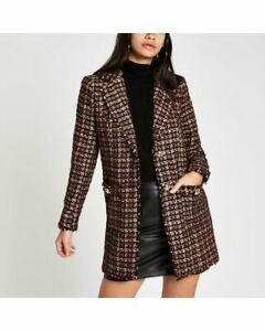 BNWT River Island Women's Red Check Boucle Double Jacket Size 12 Eu 38 Us 8