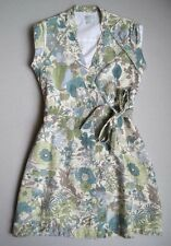 "PAPO D""ANJO Girls 12 Yrs Green Blue Cream Floral Silk Wrap Dress EUC"