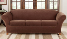 NEW Sure Fit Chocolate brown 4 piece Pique Sofa sure fit slipcover slip cover