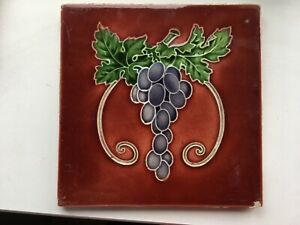 Beautiful Relief Moulded Art Nouveau fruit tile