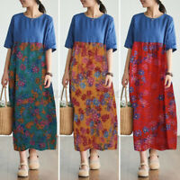 Womens Floral Printed Patchwork Casual Loose Dress Long Maxi Sundress Plus Size