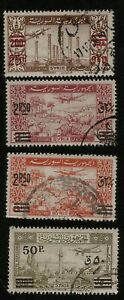 Sultan Ibrahim Mosque, Kanewat & Airplane 1948 Syria Overprinted Airmail Stamps