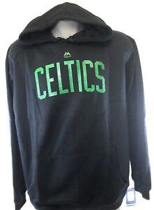 Mens Majestic Boston Celtics Black Screen Print Hoodie NBA Sweatshirt