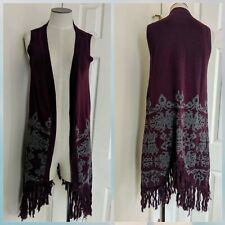 Y London Free People purple grey gypsy boho festival fringe vest Stevie Nicks