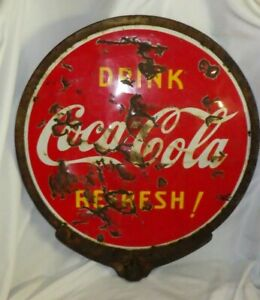 1930's Porcelain Drink Coca Cola Refresh! Double Sided Lollipop Sign w/ RING