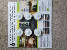 6 Capstone LED Puck Lights w/ Remote Control 18 Batteries Wireless W 3M Tape