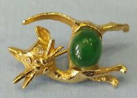 Vintage Cat Pin Brooch Green Cabochon Rhinestone Eyes Gold Tone