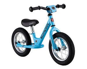Schwinn 12 inch Kids Adjustable Seat, handlebars Foot to Floor Blue Balance Bike