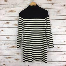 Woman's Topshop Size 8 Ribbed Turtleneck Long Sleeve Sweater Dress Stripe Multi