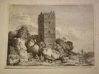 Fr. Edmund WEIROTTER GRAVURE XVIII EAU FORTE ORIGINALE PAYSAGE RUINES ALLEMAGNE