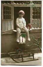 CPA - Carte Postale - Fantaisie - Bonne Année - Jeune Garçon - Traîneau - 1919 (