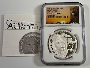 2014 Tanzania $1000 Shillings 1 oz Proof Silver Lion NGC PF70 UCAM High Relief