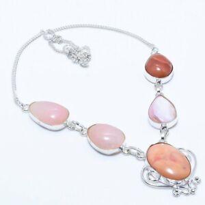 "Pink Opal Gemstone Handmade 925 Sterling Silver Jewelry Necklace 18"" AL-3190"
