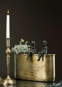 Planter Shabby Chic Vintage Cottage Flowerpot Bowl Metal Gold Vase Oval