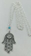 "Luck Evil Eye Fatima Hamsa Hand Charm Jewish Judaica Turquoise 30"" Long Necklace"