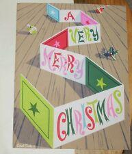 Vtg Carl Tait Artist Irene Dash Unused Christmas Card Matte Colors Bulbs Holly