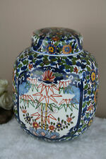 Gorgeous Delft makkum tichelaar pottery floral tobacco lidded jar marked
