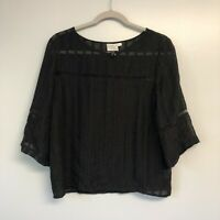 HD In Paris Black Lace Short Bell Sleeve Top Sz 6