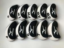 10PCS Golf Iron Headcovers Velco for Mizuno Club Head Covers 4-LW White&Black