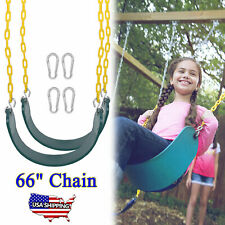 """2 Pack Kids Adults Outdoor Swing Seats Heavy Duty Playground Swing Set 66"""" Chain"""