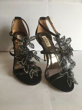 Badgley Mischka Renita Black Satin Embellished Shoes 8 NIB