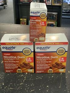 2 Equate Nicotine Gum Cinnamon Flavor, 4 mg,160 Count